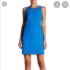 bright blue laser cut sheath dress